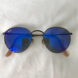 Blue Round Metal Sunglasses